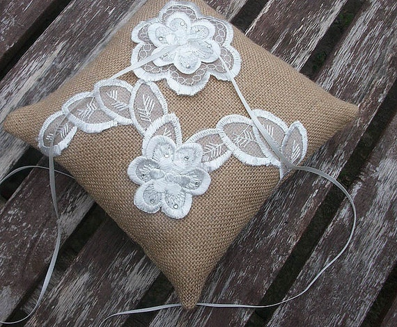 Wedding Ring Bearer Pillow in Natural Burlap with Appliqued Embroidered Organza in Ivory