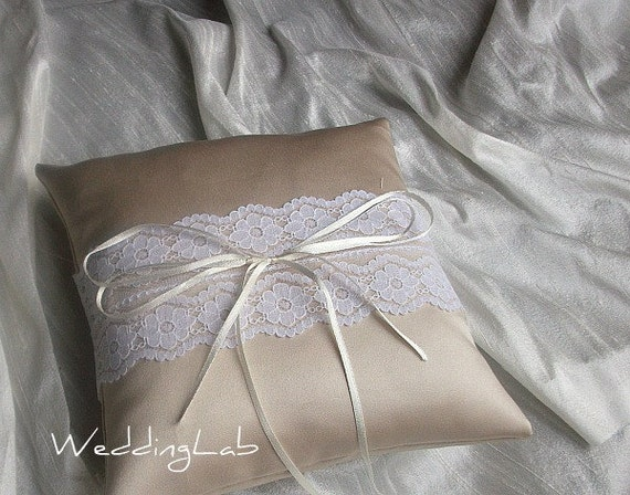 Satin Ring Bearer Pillow/Cushion in choice of White, Champagne or Ivory Satin With White Lace