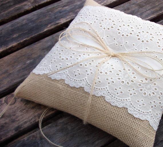 Rustic Ring Bearer Pillow in Ecru Burlap and White Eyelet Lace Trim