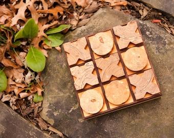 Tic-Tac-Toe by BANDY, walnut inlaid gameboard