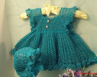 Pinafore:  Dress, Robin egg blue and victorian bonnet 2 pieces