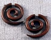 1-Pair Organic Wooden Earrings - Sona Wood Double Spiral Curls - Hoops - Fake Gauges