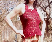Burgundy crocheted lace summer tank top for her