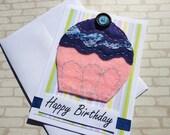 Hand Sewn Cupcake Card