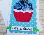 Hand Sewn Cupcake Greeting Card