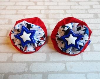 Patriotic Star hand sewn yo yo barrettes