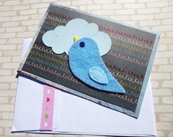 Hand Sewn Love Bird Greeting Card