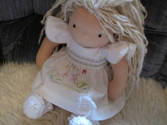 American Girl, Waldorf doll clothes....white on white with vintage linens