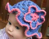 Baby Hat crochteted Periwinkle blue with pink trim