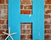 "24"" Wooden Letter H, Bold Style in Distressed Turquoise - all letters available in many colors"