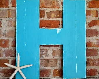 """24"""" Wooden Letter H, Bold Style in Distressed Turquoise - all letters available in many colors"""