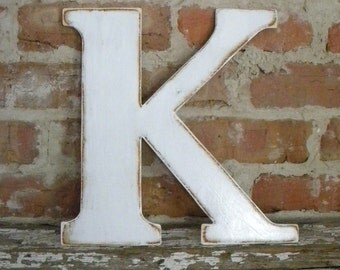 "12"" Wooden Letter K, Classic Font in Distressed White - all letters available in many colors"
