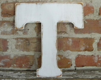 "12"" Wooden Letter T, Distressed White, Classic Font - all letters available in many colors"