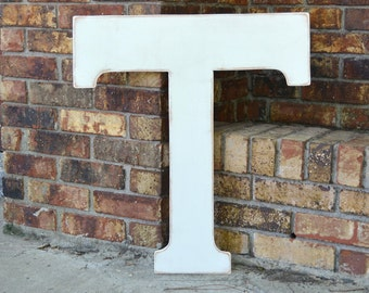 """24"""" Wooden Letter T, Alternative Wedding Guestbook, Classic Font in Distressed White - all letters colors available"""