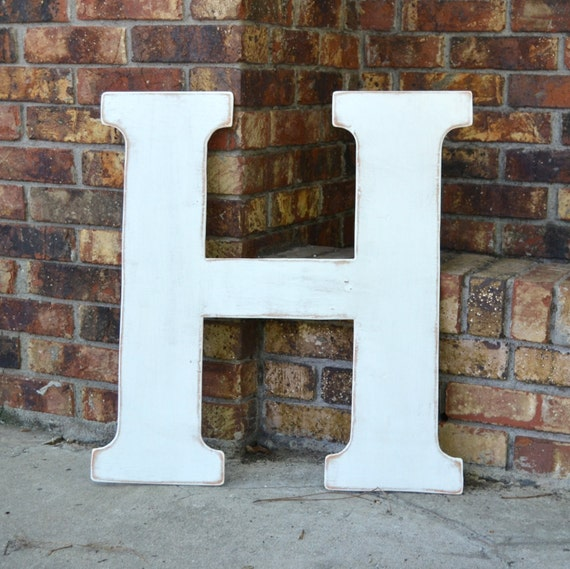 """24"""" Wooden Letter H, Classic Font in Distressed White - all letters available in many colors"""