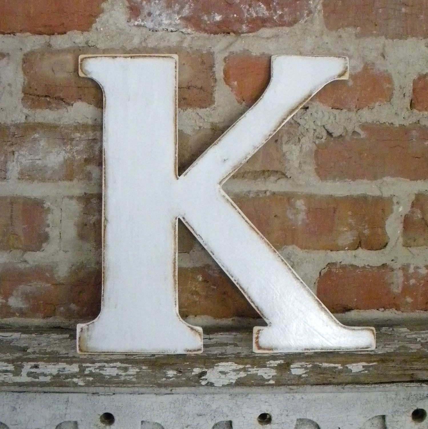 distressed wood letters 12 wooden letter k classic font in distressed white 21380 | il fullxfull.329628845