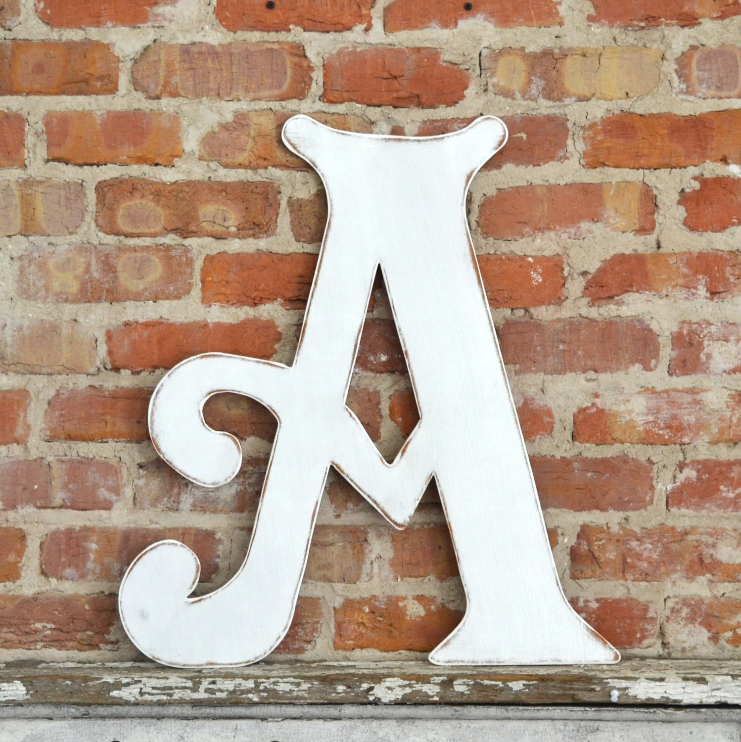 24 wooden letter a elegant font in distressed white. Black Bedroom Furniture Sets. Home Design Ideas