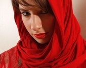 NYZ DESIGNS Red Infinity SCARF Shall Wrap Hoody wear 5 Different Ways