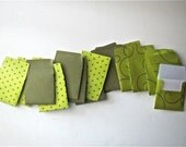 16 teeny tiny miniature square green patterned envelope mini note card sets