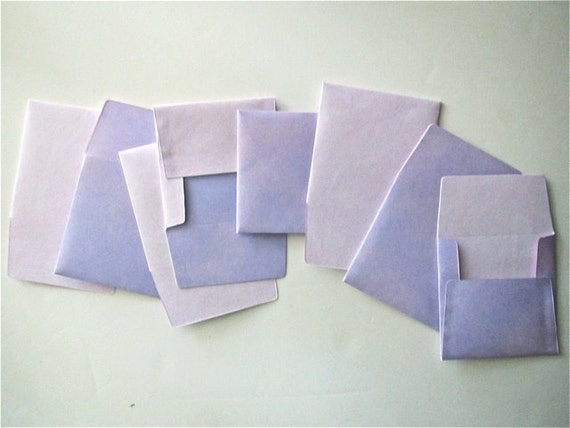 8 teeny tiny miniature square purple and pink envelope note sets stationery party favors weddings guest book table number