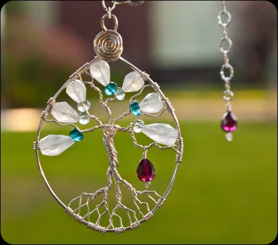 Moonstone, Topaz, &  Garnet Tree of Life Necklace - MOON  - Argentium Sterling Silver