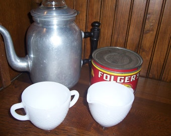 Vintage Milk Glass Fire King Creamer and Sugar Set