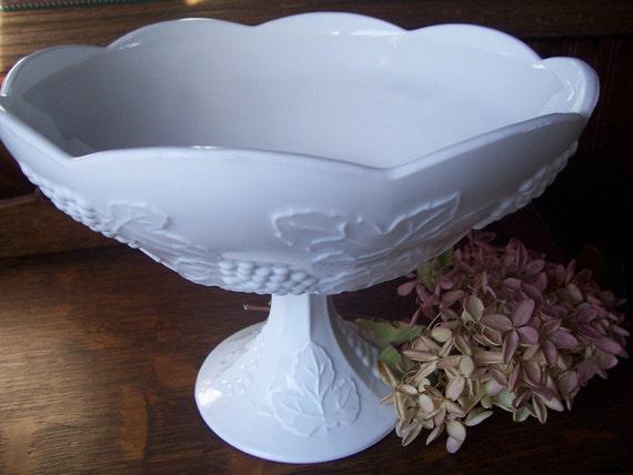 Vintage Milk Glass Large Pedestal Compote/Bowl Harvest Grape Pattern