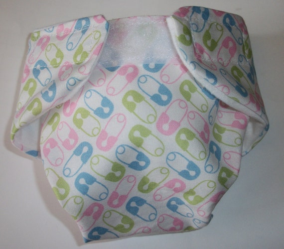 READY TO SHIP Doll Diaper Baby Cloth pink blue green tri diaper pins fits bitty baby alive cabbage patch stuffed animals