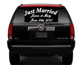 Personalized Just Married Wedding Back Window Decal Vinyl Names and Date Car Decal