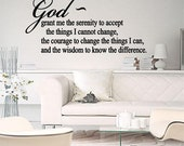 Serenity Prayer Wall Lettering Vinyl Decal Words God Decal