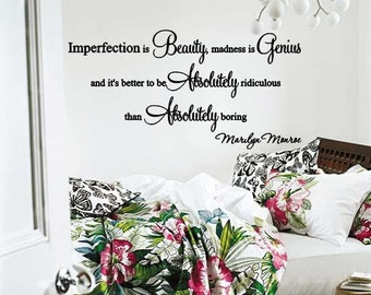 Marilyn Monroe Imperfection Is Beauty Wall Lettering Quote Decal