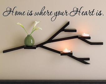 Wall Lettering Home Is Where Your Heart Is Vinyl Decal