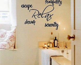 Wall Lettering Relax Escape Tranquility Serenity Vinyl Wall Decal