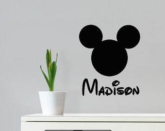 Wall Decal Mickey Mouse Head Personalized Kids Name Disney Kids Room Vinyl Lettering Name
