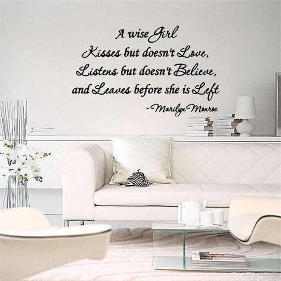Marilyn Monroe A Wise Girl Kisses Quote Wall Lettering Decal