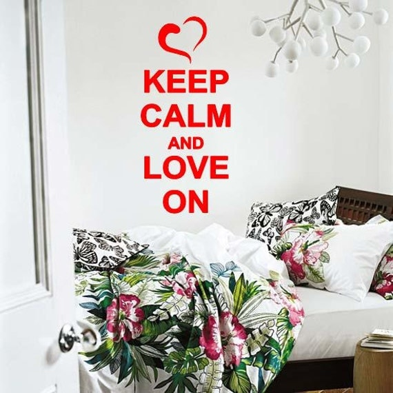 Keep Calm And Love On With Heart  Wall Lettering Vinyl Word Art