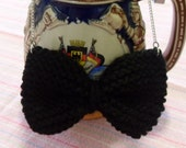 Knitted BIG Bow Necklace Black