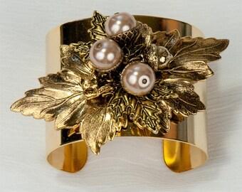 Vintage Glamour Golden  Maple Leaf & Acorn Cuff Bracelet