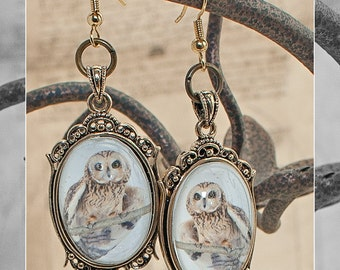 Steampunk Victorian Owl Cameo Filigree Earrings in Antiqued Goldplate