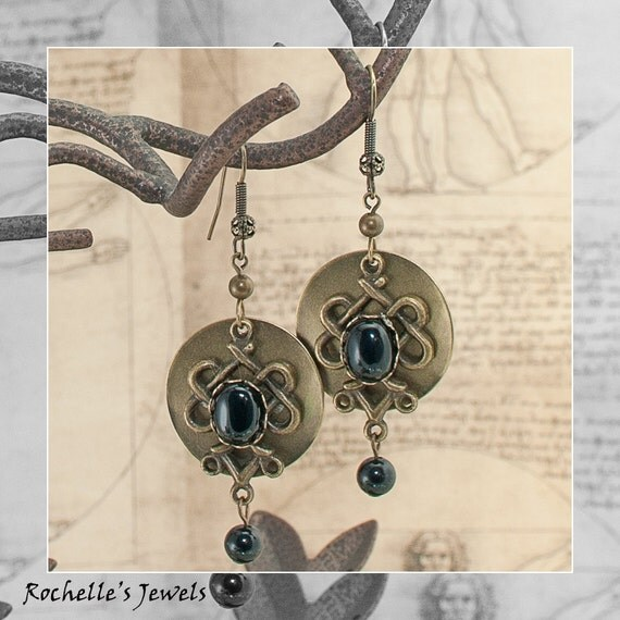 Victorian Filigree Ornate Black Onyx Stone Antiqued Gold Earrings