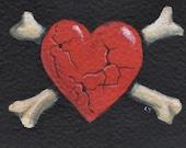 Heart and Crossbones Tattoo Art Original  Kustom Art Card ACEO