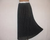 BLACK PLEATED Skirt Vintage with White Polka Dot / Size S / M / Long