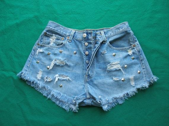 LEVI'S 501 DENIM CUT off and studded  shorts Vintage