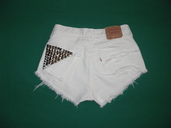 Reserved for Miranda STUDDED LEVIS 501 SHORTS Vintage / White / Cut Off / Size on tag W 32 / L 30