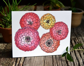 Bright Zinnia Greeting Card