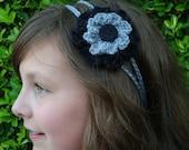 Crochet - Gray/ Black crocheted flower 2 strand headband/with black button (PHOTO PROP) wedding, flowers, crocheted headband, girl, women