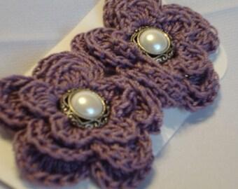 Crochet - Purple crocheted flower hair clips/pearl button
