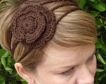 Crochet - Brown crocheted flower 3 strand headband