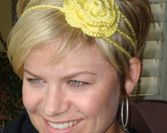 Crochet - Yellow crochet flower 3 strand headband