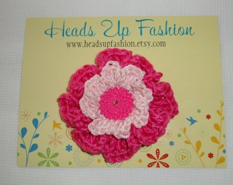 Crochet - Light pink and hot pink poppy crocheted flower hair clip